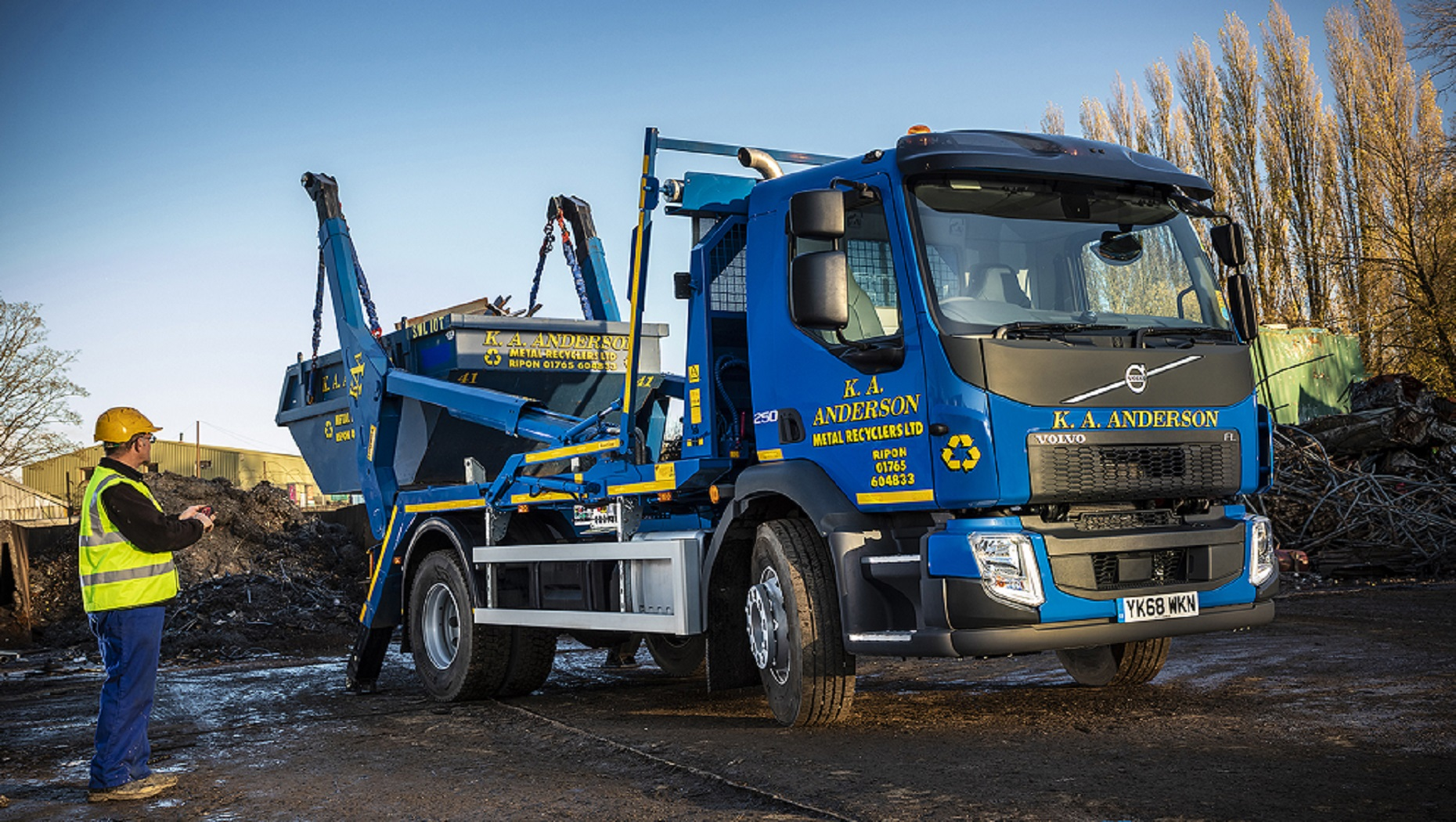 K A Anderson Metal Recyclers Ltd Shops Local for a New Volvo FL Skip Loader