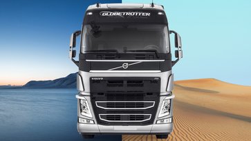 Volvo FH infront of desert and icy landscape
