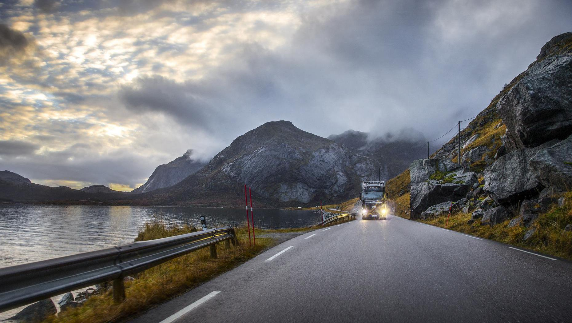 Driving through the Lofoten archipelago.